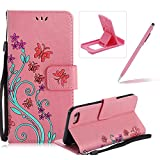 Strap Case for iPhone 5C,Smart Leather Cover for iPhone 5C,Herzzer Stylish Butterfly Flower Design Wallet Folio Case Full Body PU Leather Protective Stand Cover with Inner Soft Silicone Shell for iPhone 5C + 1 x Free Pink Cellphone Kickstand + 1 x Free Pink Stylus Pen - Pink