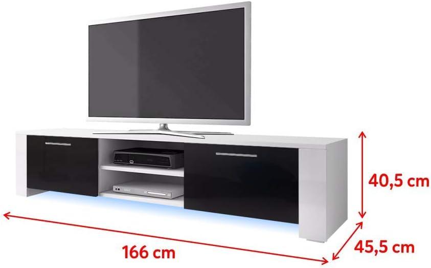 Selsey-Living Global Baja Pensión/Mesa de TV, Blanco/Negro, 166 x 45.5 x 40.5 cm: Amazon.es: Juguetes y juegos