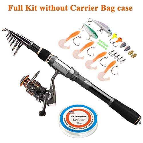 PLUSINNO Fishing Rod Reel Combos Carbon Fiber Telescopic Fishing Pole with Spinning Reel Line Lures Accessories Combo Sea Saltwater Freshwater Fishing Rod Kit (Best Freshwater Fishing Pole)