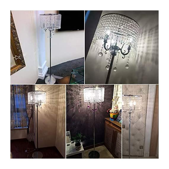 Hsyile Lighting KU300153 Elegant Designs Crystal Floor Lamp Chrome Finish,2 Lights - High Quality Raw Materials: Handpicked crystal,good light transmittance,throught a number of processes polished and refined. Size:13-Inch L x 13-Inch W x 59-Inch H (Need assembly and Easy to Install). 110V, 2 x 40Wattage Max, required E12 light bulb (bulb not included). Compatible with various types of E12 bulbs,such as incandescent,LED,CFL,halogen and Edison bulbs. ON/OFF switch located on cord,convenient to use. - living-room-decor, living-room, floor-lamps - 51GKeupsJrL. SS570  -