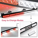 "Ediors 35.5"" LED 13 Modes Hazard Traffic Advisor Emergency Warning Tow Vehicle Auto Truck Strobe Light Bar Kit With Suction Cup (White/Red)"