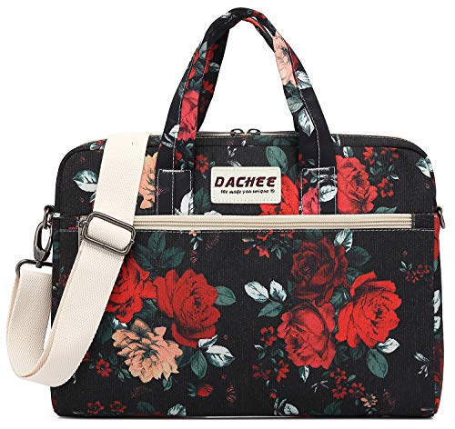 DACHEE Big Red Rose Pattern 15 inch Waterproof Laptop Shoulder Messenger Bag for 14 Inch to15.6 inch Laptop and MacBook Pro 15 Laptop Case ()