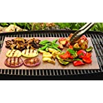 """YOSHI GRILL & BAKE MATS (2 Pack), Copper 16 100% non stick - food slides right off! Contains 2 mats for grilling and/or baking - each measure 15. 75"""" x 13"""" Infused with real Copper, PFOA free and can withstand heat up to 500 degrees"""
