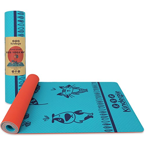 Extra Thick Yoga Mat For Kids - For Boys & Girls 2 to 10 Years Old - 2-Layered Lightweight 6mm Yoga Mat Made Of 100% TPE Antibacterial Foam, PVC & Phthalates Free, Indoor/outdoor Eco Friendly Yoga Mat