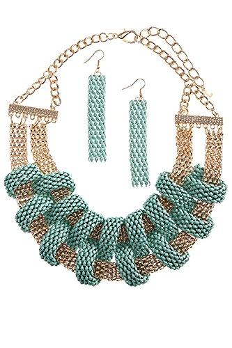 KARMAS CANVAS LINKED SNAKE CHAIN BIB NECKLACE SET (Mint) (Custom Costume Hip Hop Jewelry)