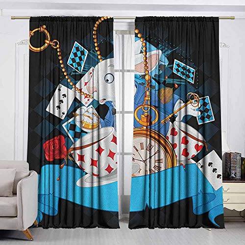 VIVIDX Exterior/Outside Curtains,in Wonderland,Rabbit Motion Cups Hearts and Flower Character Alice Cartoon Style,for Patio/Front Porch,W63x45L Inches Multicolor -