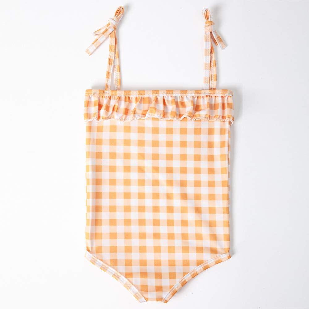Baby Swimwear Waymine Kids Girls Plaid Straps One-Piece Bikini Swimsuit 2-12T