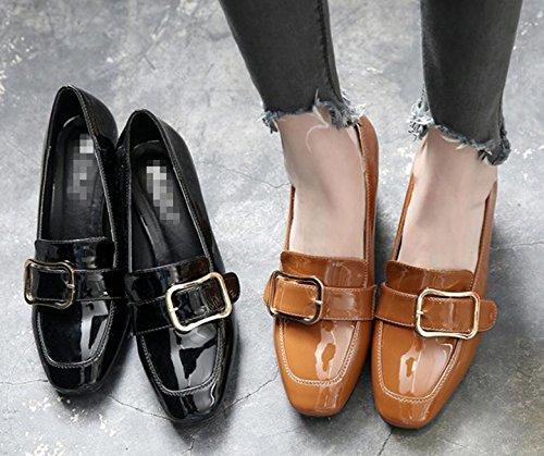 2017 zapatos nuevos solos zapatos de hebilla cuadrada cuadrada de tacón alto con los zapatos ocasionales gruesas Brown