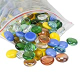Yarssir Mosaic Color Variety Glass & Porcelain Mixed Gems Stones,Flat Clear Marbles,Pebbles (2 Pound Bag) for Handcraft,Vase Filler,Table Scatter,Aquarium Decoration