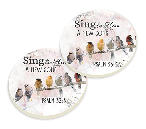 P Graham Dunn Sing Him a New Song Birds Whitewash Look 3 x 3 Ceramic Car Coasters 2 - Song Stoneware
