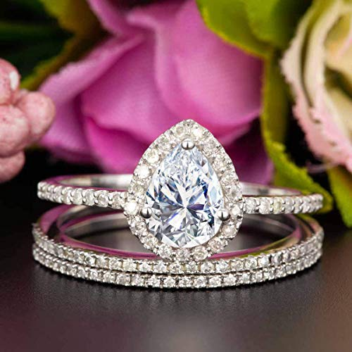 (2 Carat Pear Shape Moissanite and Diamond Halo Trio Wedding Ring Set On White Gold with Engagement Ring and Two Wedding Bands)