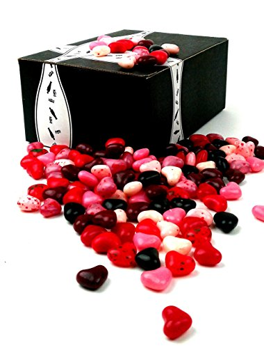 Gimbal's Cherry Lovers Heart Shaped Jelly Beans, 2 lb Bag in a BlackTie Box
