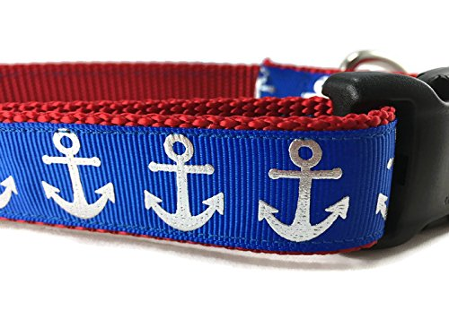 CANINEDESIGN QUALITY DOG COLLARS Nautical Dog Collar, Caninedesign, Quick Release Buckle, 1 inch wide, adjustable, nylon, medium and large (Blue Foil Anchors, Large 15-22
