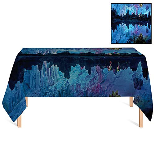 (SATVSHOP Premium Fitted Tablecloth /60x140 Rectangular,Cave rations Illuminated Reed Flute Cistern with Artifical Lights Crystal Palace Cave Image Blue Indigo.for Wedding/Banquet/Restaurant.)