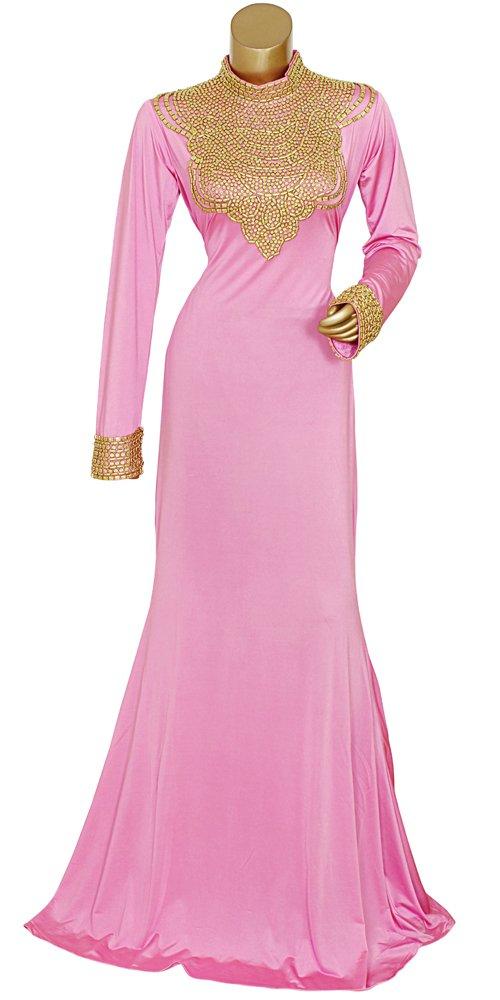 Shubham Fashions Women's Traditional Kaftan Wedding Dress Abaya Free Size Pink