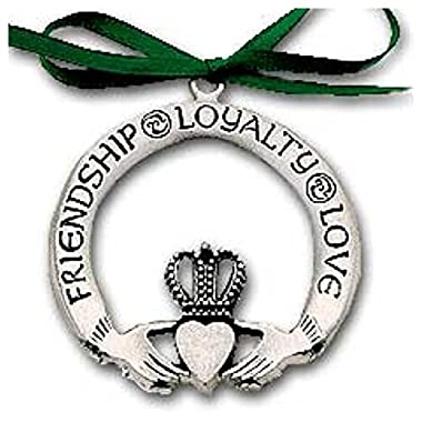 Pewter CLADDAGH ORNAMENT Irish - LOVE Friendship & Loyalty - CHRISTMAS Gift Inspirational Message