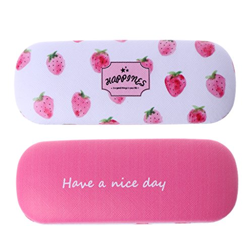 Best-topshop Hard Glasses Case, 6.50 x 2.44 x 1.54 inches, Cute Fruit Printed Fashion Retro Light Portable Metal Box Holder Organizer for Women Girls Men Boys - For Cute Girls Glasses