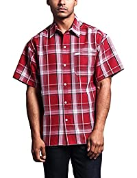 "<span class=""a-offscreen"">[Sponsored]</span>Western Casual Checkered Plaid Short Sleeve Button Up Shirt"