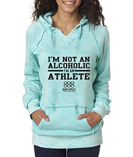 Weatherproof W1162 Ladies Burnout Hooded Pullover Blend Fleece - Ocean - (Burnout Pullover)