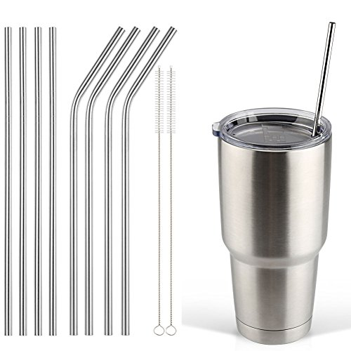 Accmor 18/8 Stainless Steel Straws, Reusable Metal Drinking Straws for 30 20 Oz Yeti Tumbler Rambler Cups (8, FBA)
