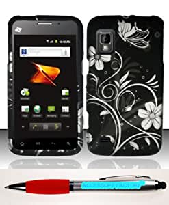 Accessory Factory(TM) Bundle (the item, 2in1 Stylus Point Pen) For ZTE Warp N860 (Boost) Rubberized Design Case Cover Protector - White Flowers