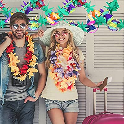 Maxdot 9 Feet Long Tropical Multicolored Paper Tissue Garland Flower Banner for Luau Hawaiian Party Supplies (4 Pieces): Toys & Games