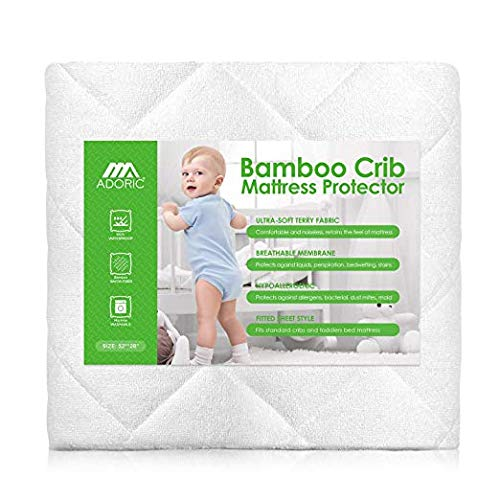 - AdorioPower Baby Waterproof Crib Mattress Pad Cover, Premium Hypoallergenic Breathable Bamboo Fiber, Ultra Comfortable Toddler Bed Fitted Mattress Protector - White (1)