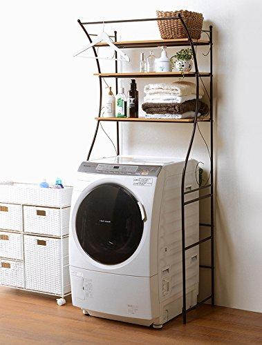 洗濯機ラック ランドリーラック ランドリー収納 幅75 おしゃれ ブラウン 茶色 アンティーク B079JRFCYM  ブラウン