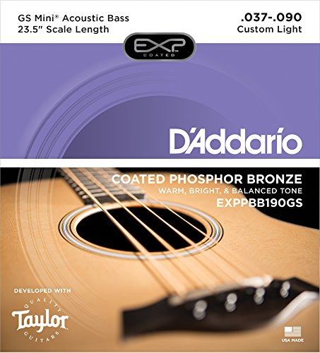 Daddario Coated Bass - D'Addario EXPPBB190GS Phosphor Bronze Coated Acoustic Bass Strings, Taylor GS Mini Scale, 37-90