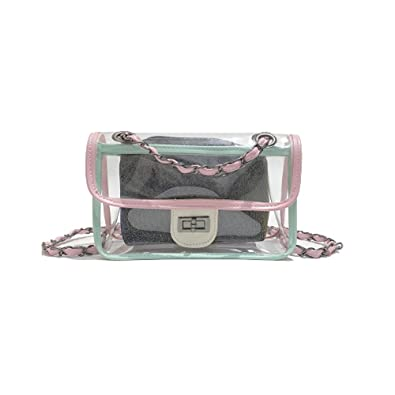 c2e3d48207e Womens Jelly Transparent Clutch Clear Chain Shoulder Bags with Glisten  Insert Bag Purse Semi-clear