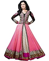 Womens Pink Color Net Fabric Anarkali Punjabi Dress Material With Embroidered work by Salwar Style
