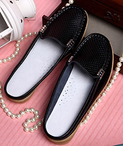 Out Black Hollow Round Women's Toe Loafers Slip Aisun On Hot HSAx74