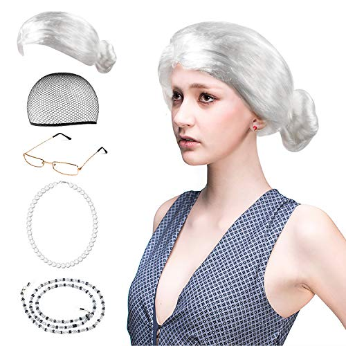 Beelittle Old Lady Costume Cosplay Grandma Granny Wig Great for Halloween Christmas Mrs. Claus (F1 Kids Costume)