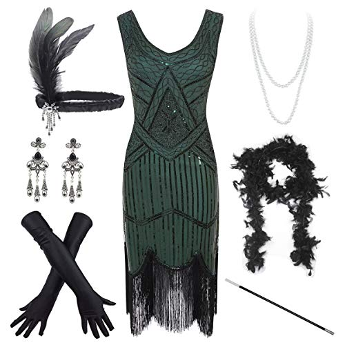 Women's Vintage 1920s Sequin Beaded Tassels Hem Flapper Dress w/Accessories Set (Medium, ()