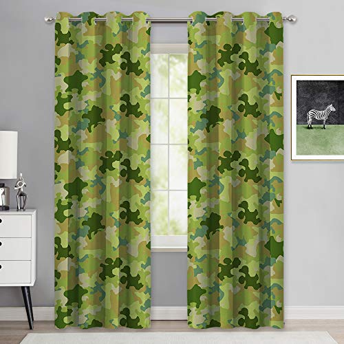 NICETWON Room Darkeing Camo Curtains for Son's Room, Grommet Rustic Camouflage Camp Stuff for Girls Thermal Insulated Privacy Window Covering for Dormitory & Flat (W52 x L84, Green, 1 Pair)