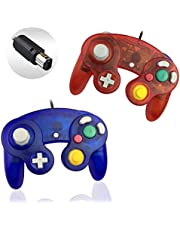 Gamecube Controller, Reiso 2 Pack Classic NGC Wired Controller for Wii Gamecube (Clear Blue and Clear Red)