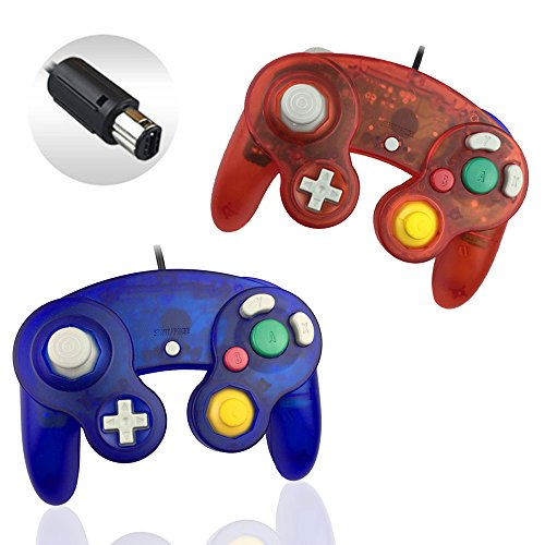 Reiso 2 Packs NGC Controllers Classic Wired Controller for Wii Gamecube(Clear Red and Clear Blue)