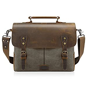 "Kattee Vintage Canvas + Real Leather Messenger Bag Tote, Fit 14"" Laptop"