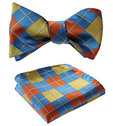 SetSense Men's Plaid Jacquard Woven Self Bow Tie Set One Size Olive/Orange / ()