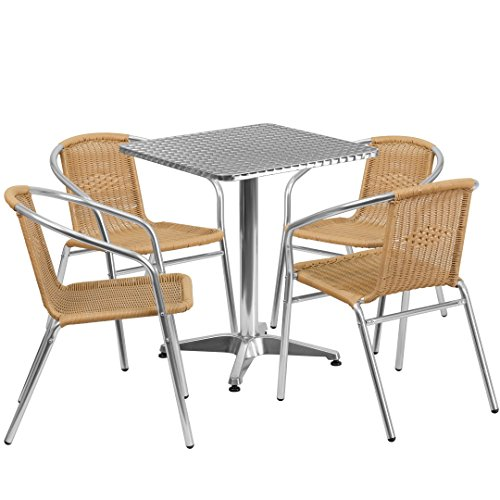MFO 23.5'' Square Aluminum Indoor-Outdoor Table with 4 Beige Rattan Chairs