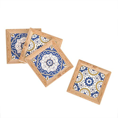 Ling's HOME 4-Set Retro Coasters Shabby Chic Ceramics Coasters with Wooden Prints Trim for Computer Geek Gifts Arcade Game Present Office ()