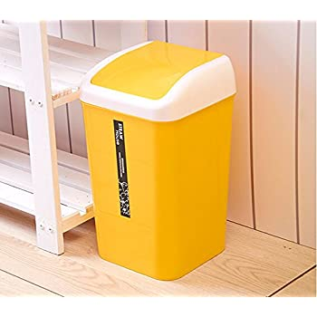 Amazon.com: Plastic Swing Lid Bedroom Trash Can Bathroom ...