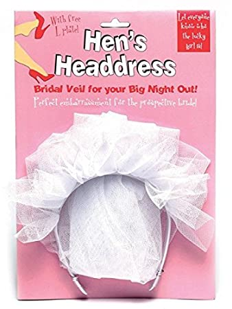 L PLATE bridal head dress HEN HEN NIGHT hens headdress headband BRIDES VEIL