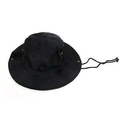 SODIAL(R) en plein air chapeau pour Hommes femmes unisexe pour la peche Camping Randonnee chapeau de soleil de Sport chapeau de bord rond(noir)