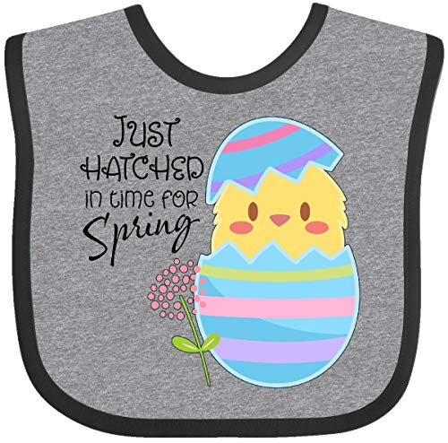 (Inktastic - Just Hatched for Spring- cute chick Baby Bib Heather and Black 2f4f9)