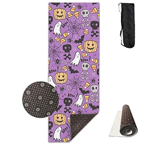 Halloween Doodle with Skulls Bat,Yoga Towel Exercise Mat