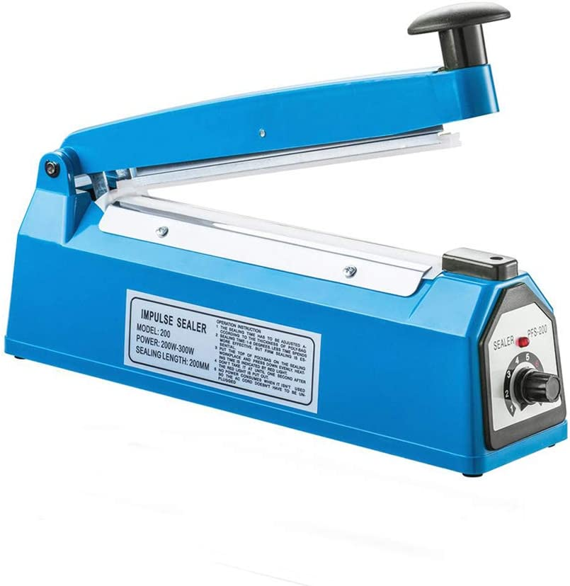 "110V 8"" (20cm) Impulse Sealer - Manual Plastic Poly Bag Heat Sealing Machine Closer Kit w/Adjustable Timer"