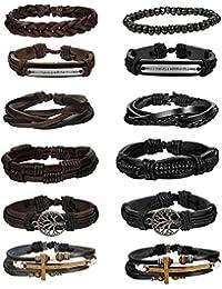 12Pcs Bracelets for Men Braided Leather Multilayer Wooden...