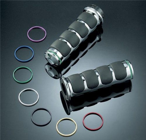 Kuryakyn ISO-Grips with Chrome Accent Rings without Throttle Boss , Color: Chrome 6227 ()