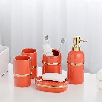 Modern Design 5 Piece Ceramic Bathroom Accessories Set Including Soap Dispenser Toothbrush Holder Soap Box Glass Tray Elegant Luxury Design Malachite Green Orange Dark Blue Amazon Co Uk Kitchen Home